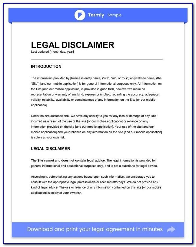 Legal Advice Disclaimer Wording