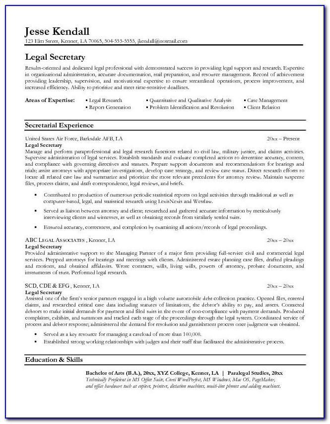Legal Assistant Cv Template