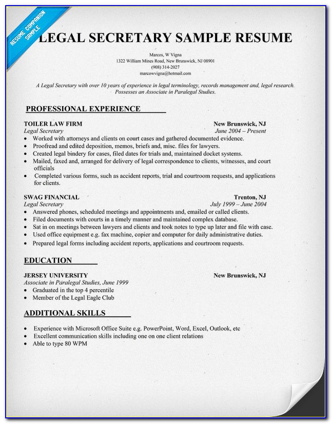 Legal Assistant Resume Format