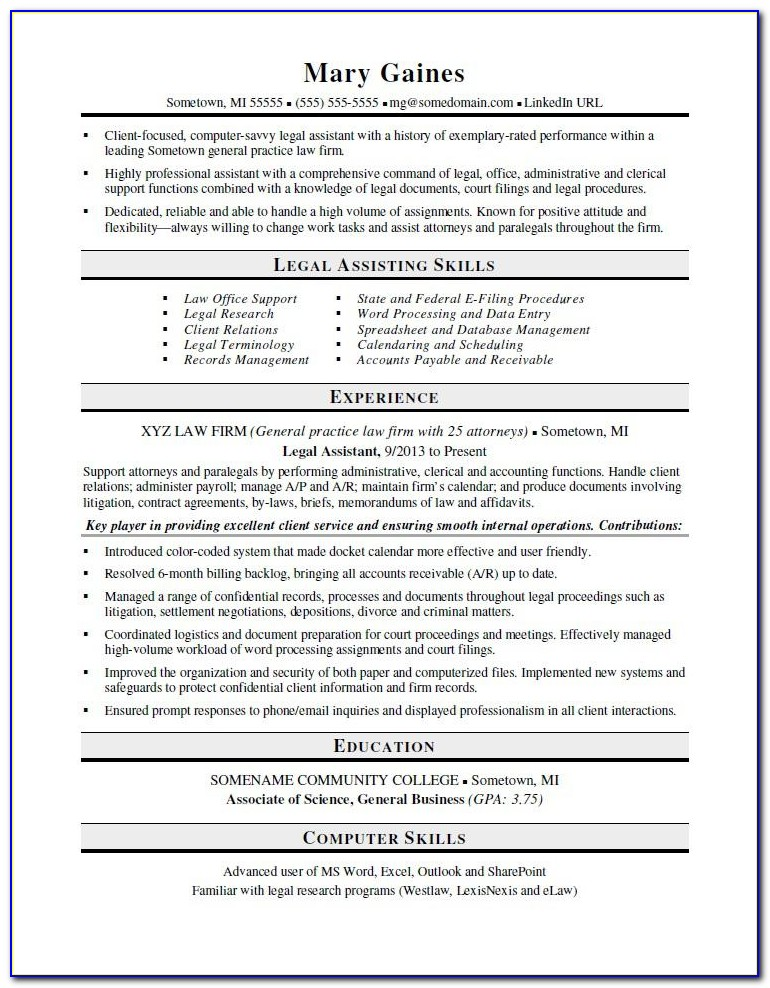 Legal Assistant Resume Template