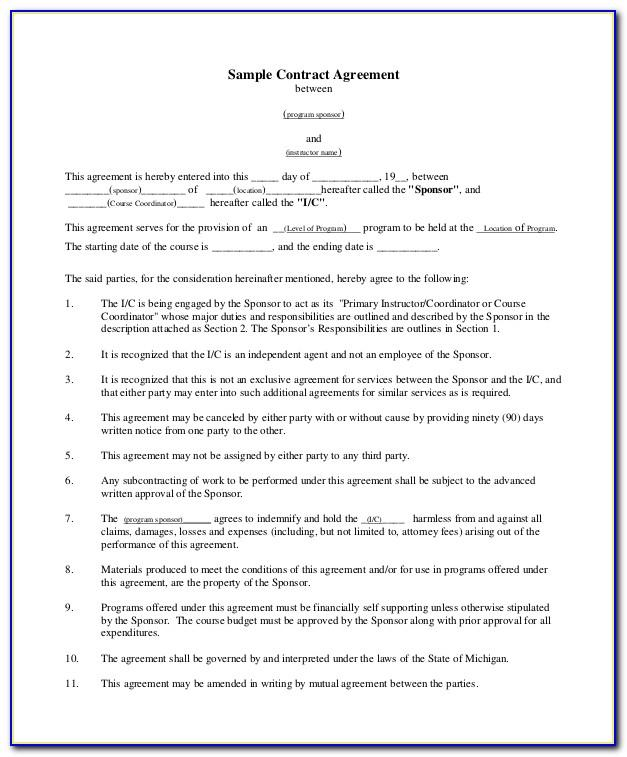 Legal Contract Template For Borrowing Money