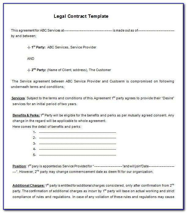 Legal Contracts Templates Pdf