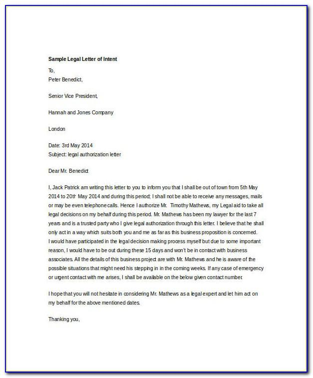 Legal Documents Letter Of Intent Template