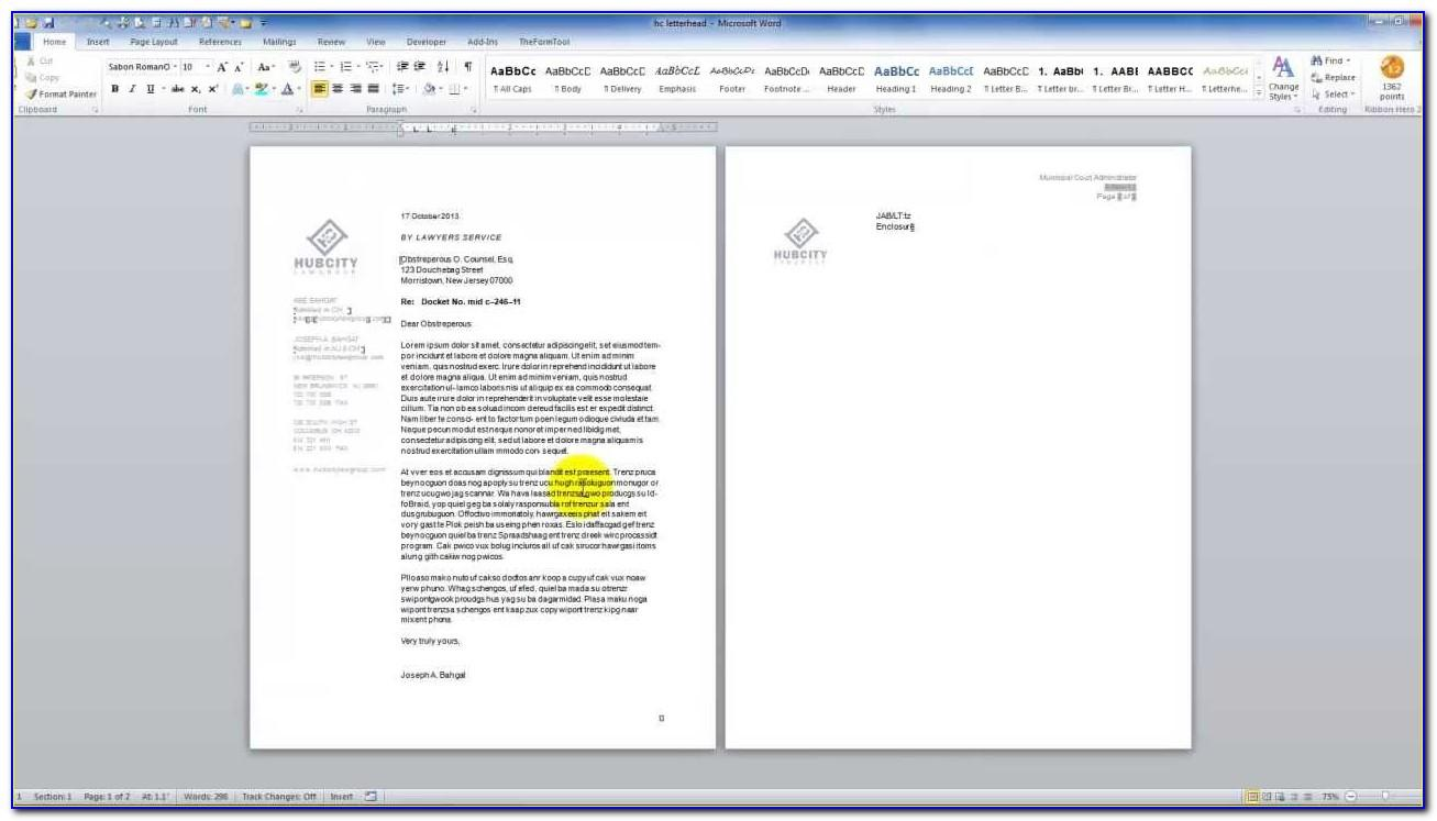 Legal Firm Letterhead Template