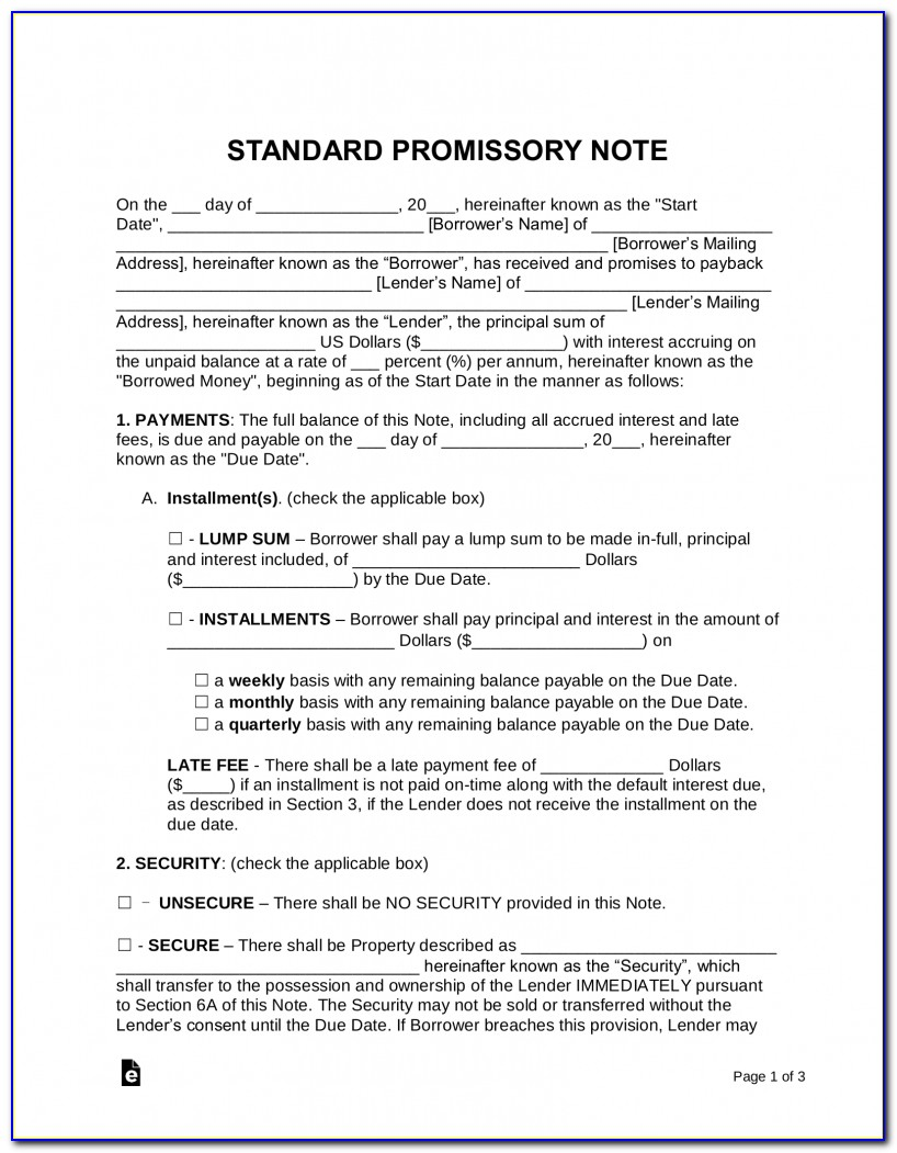 Legal Promissory Note Form