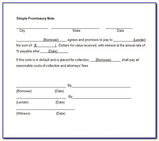 Legal Promissory Note Format