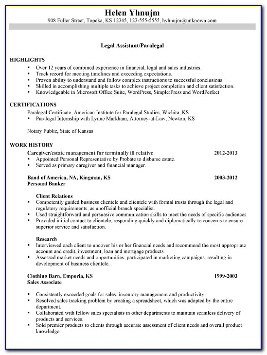 Legal Secretary Resume Format