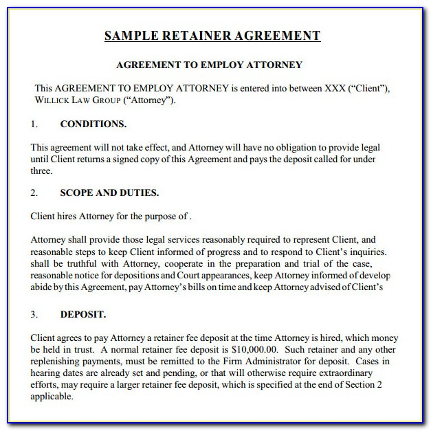Legal Services Retainer Agreement Sample