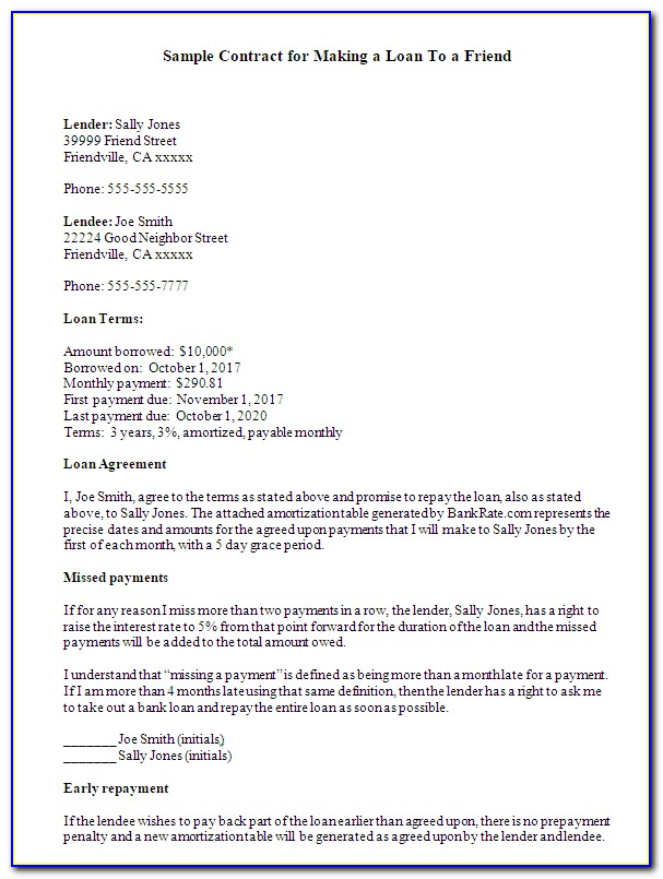 Lending Money Agreement Format