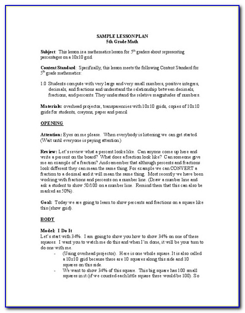 Lesson Plan Examples For High School Science