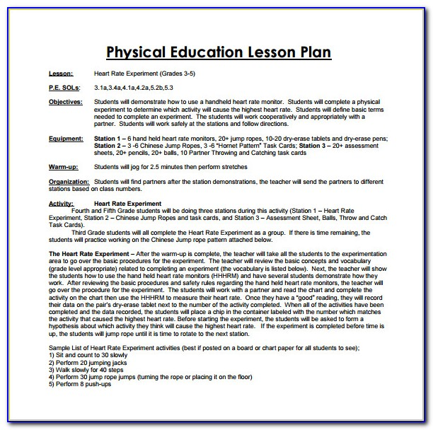 Lesson Plan Examples For Pe
