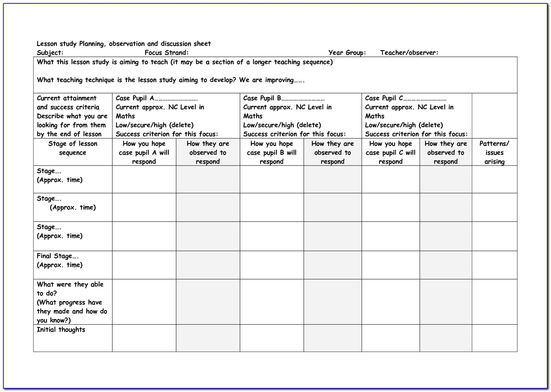 Lesson Plan Format For Formal Observation