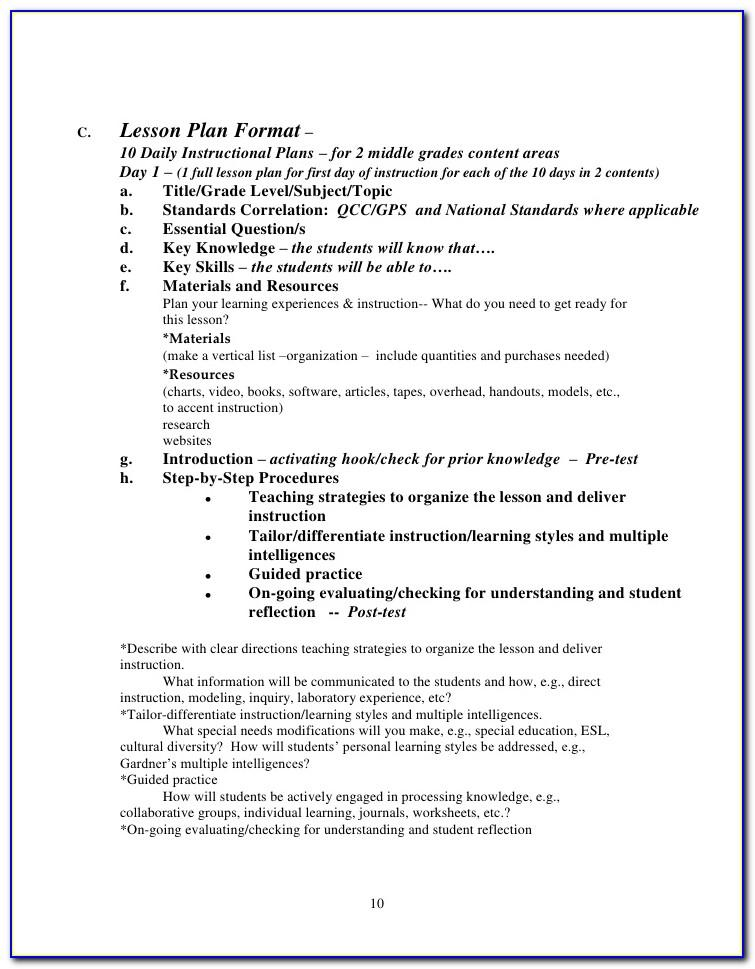 Lesson Plan Format For High School Mathematics