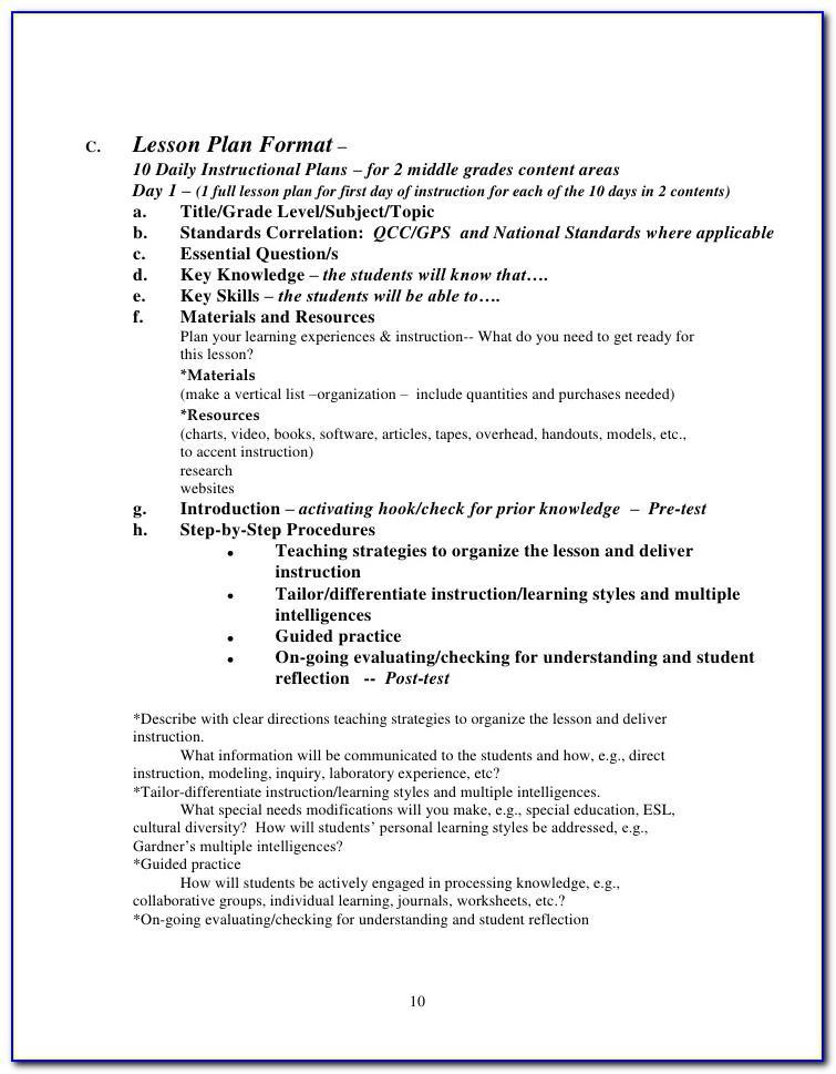Lesson Plan Format For High School Mathematics