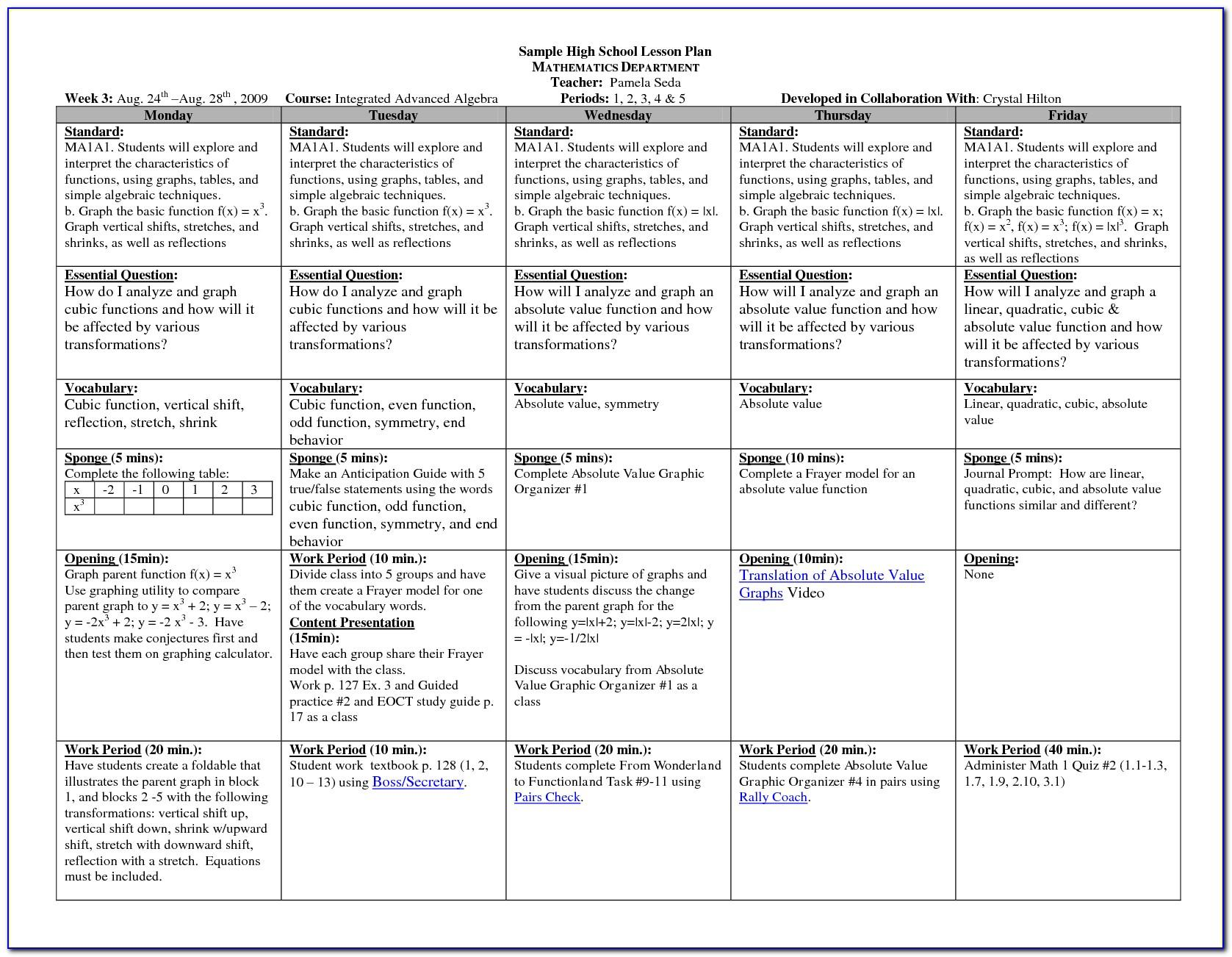 Lesson Plan Format High School Math