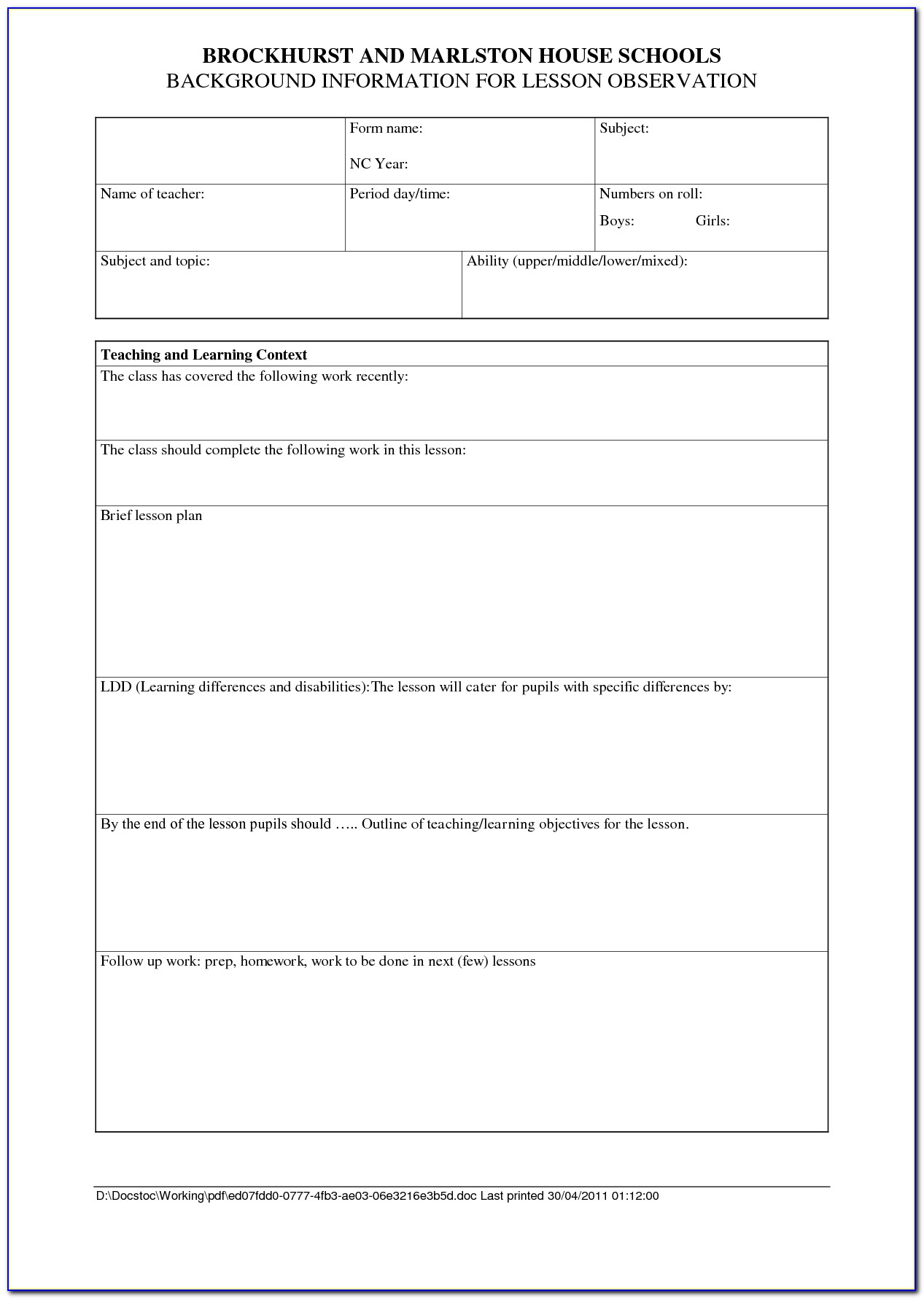 Lesson Plan Observation Sheet