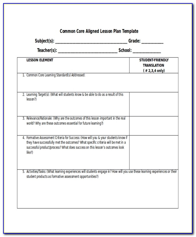 Lesson Plan Observation Template