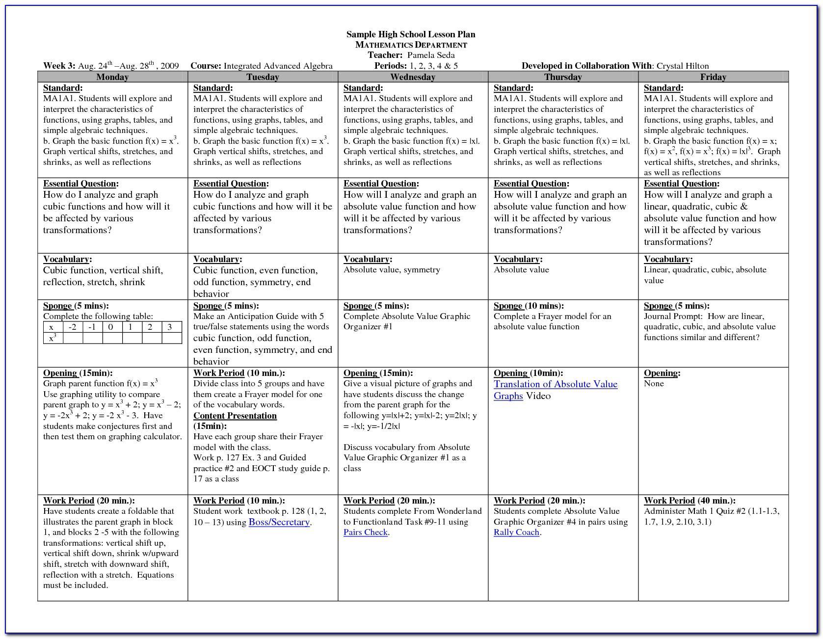 Lesson Plan Sample For High School Math