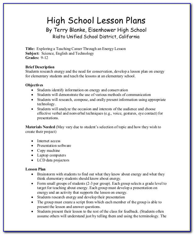 Lesson Plan Sample For High School