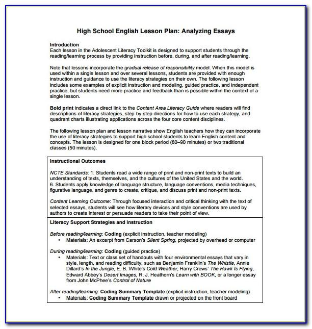 Lesson Plan Sample For Senior High School