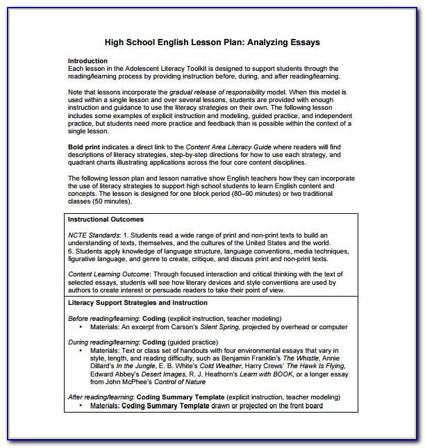 Lesson Plan Sample For Senior High School