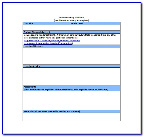 Lesson Plan Template Common Core Danielson