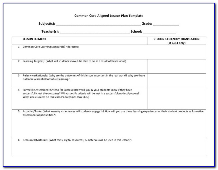 Lesson Plan Template Common Core Ela