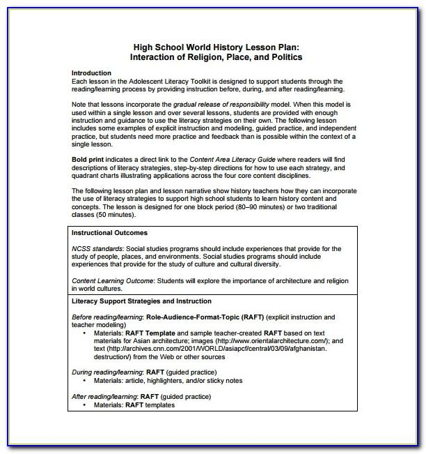 Lesson Plan Template For Common Core Standards
