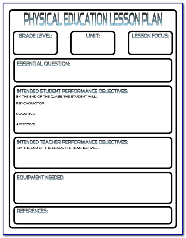 Lesson Plan Template For Elementary Physical Education