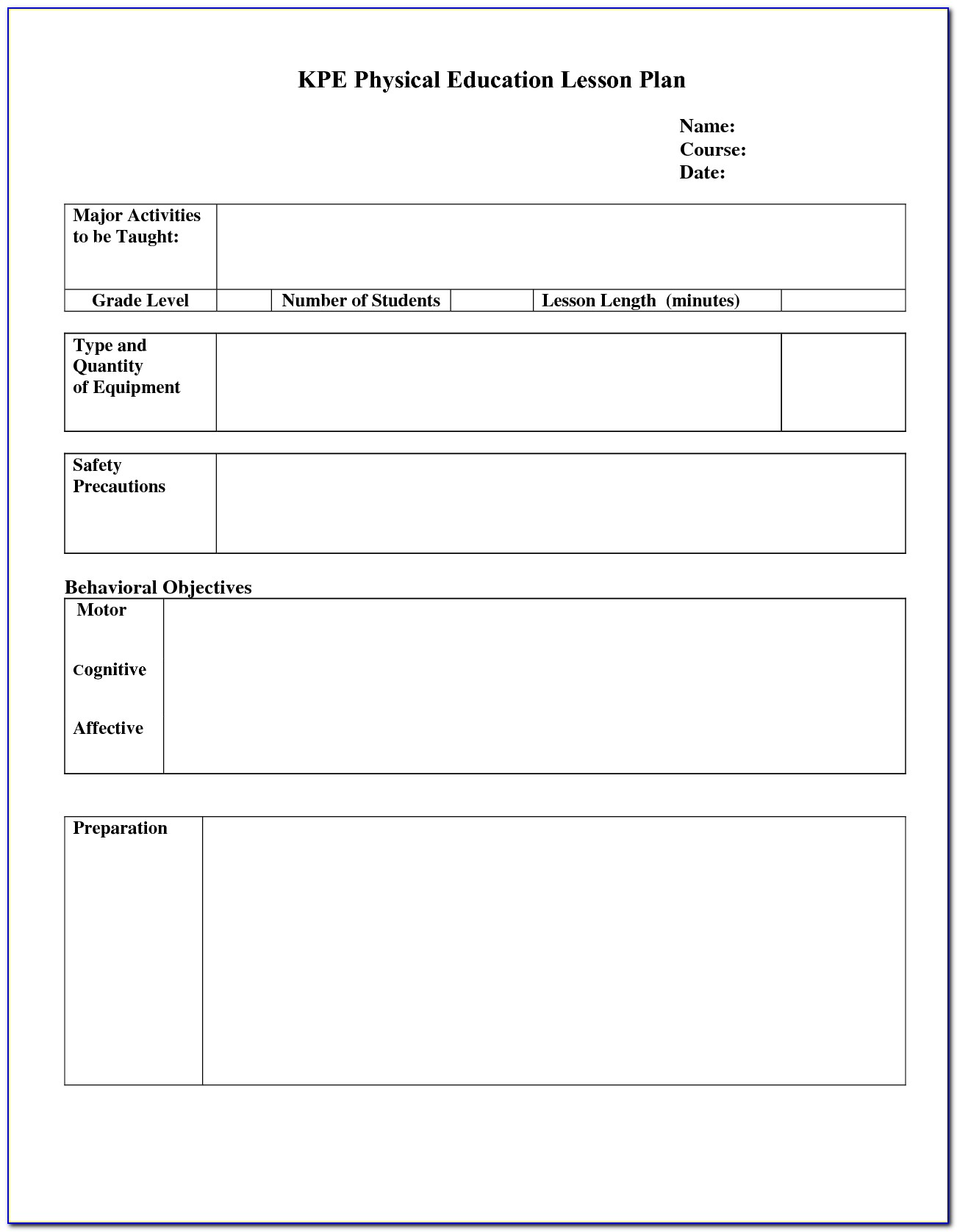 Lesson Plan Template For High School English