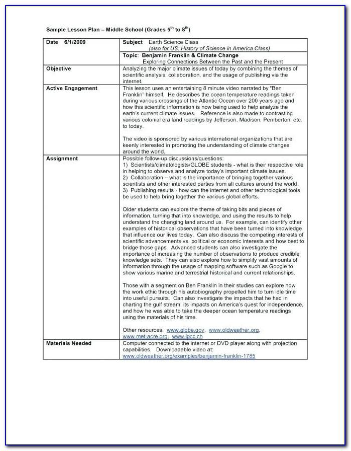 Lesson Plan Template For High School Math