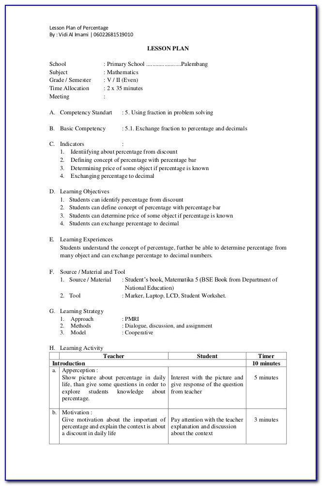 Lesson Plan Template For Observation C 5