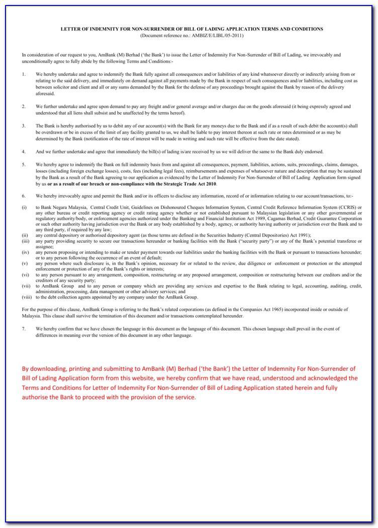 Letter Format For Bill Of Lading Surrender
