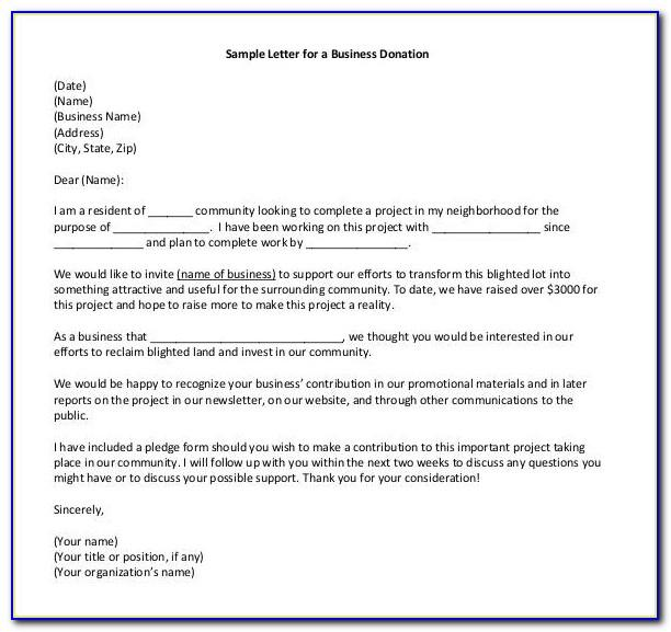 Letter Of Appreciation For Donation Template