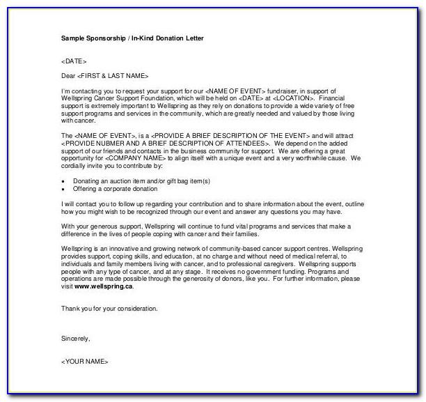 Letter Of Donation Request Template
