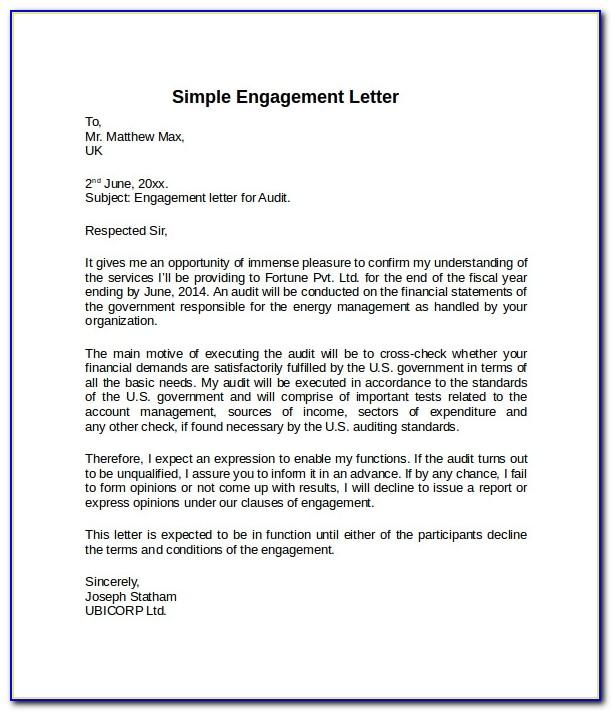 Letter Of Engagement Sample Consulting