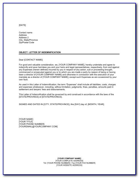 Letter Of Indemnity Sample For Bank