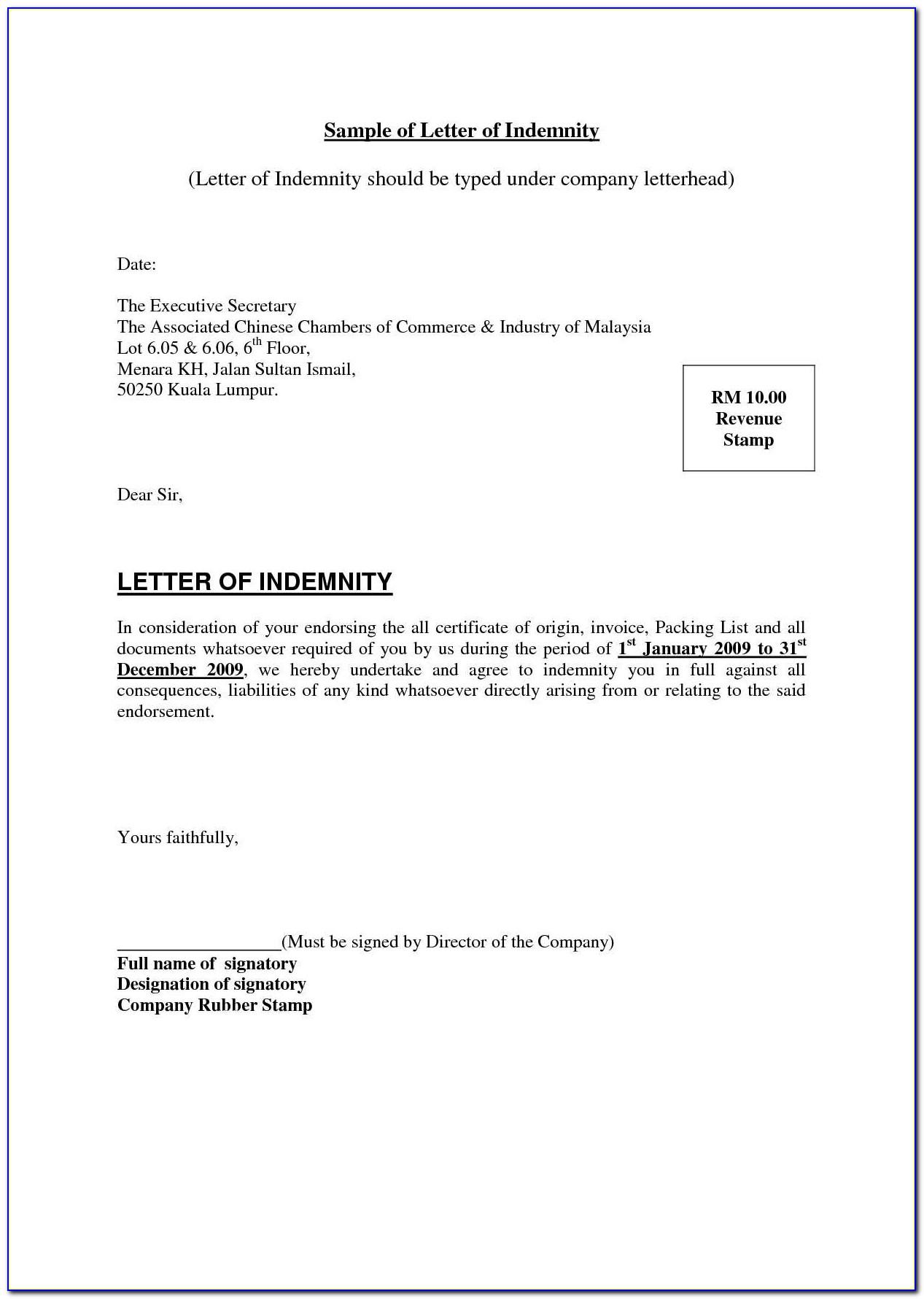 Letter Of Indemnity Sample For Shipping