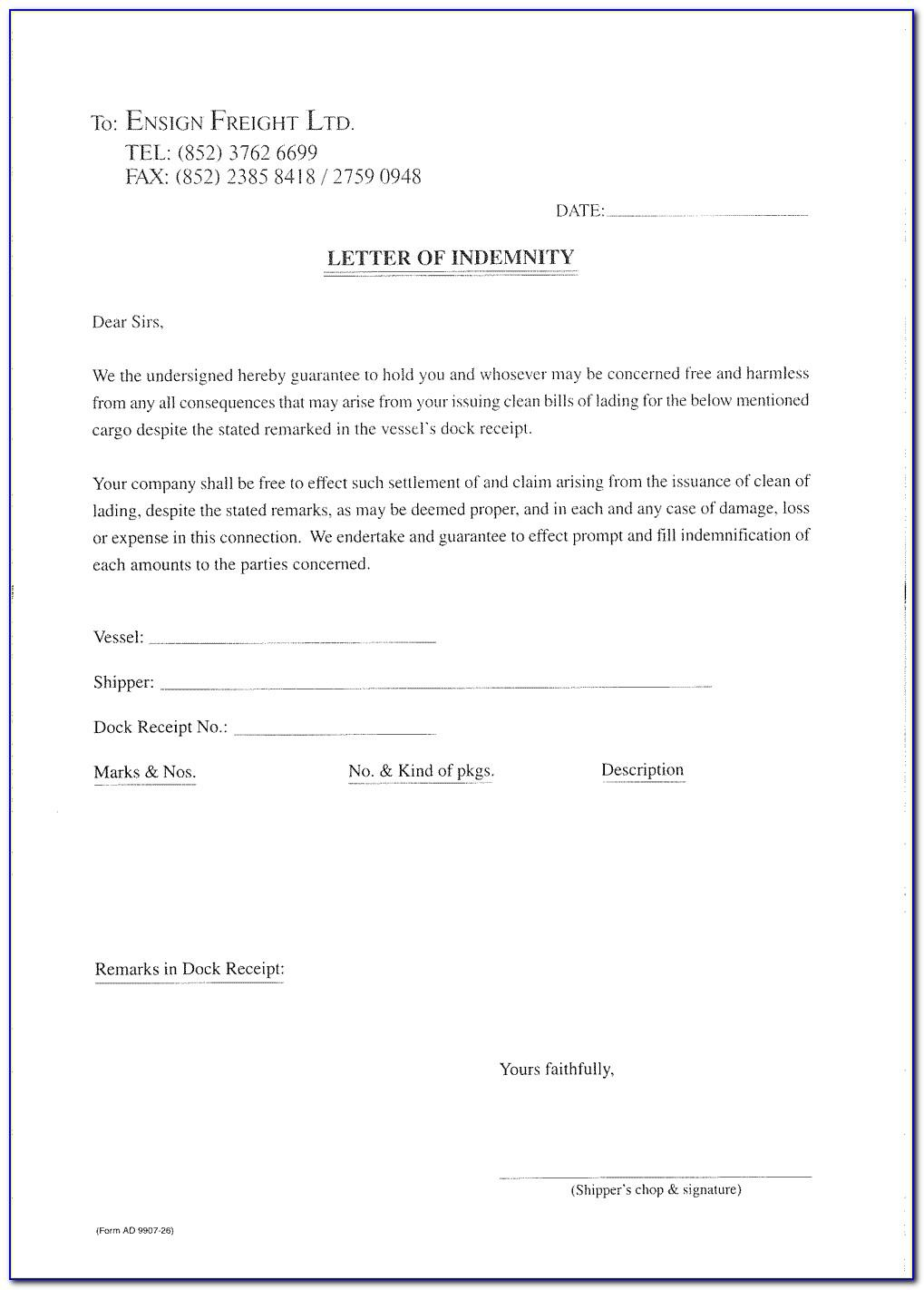 Letter Of Indemnity Sample Malaysia