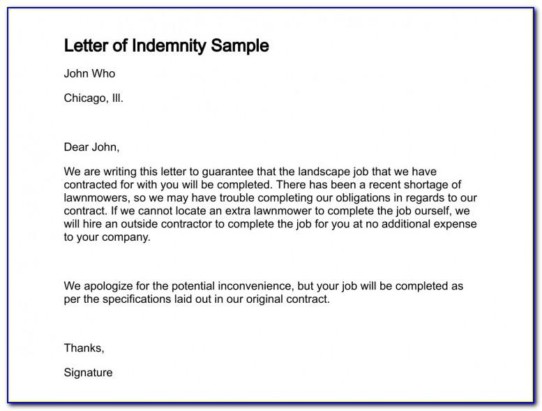 Letter Of Indemnity Sample Uk