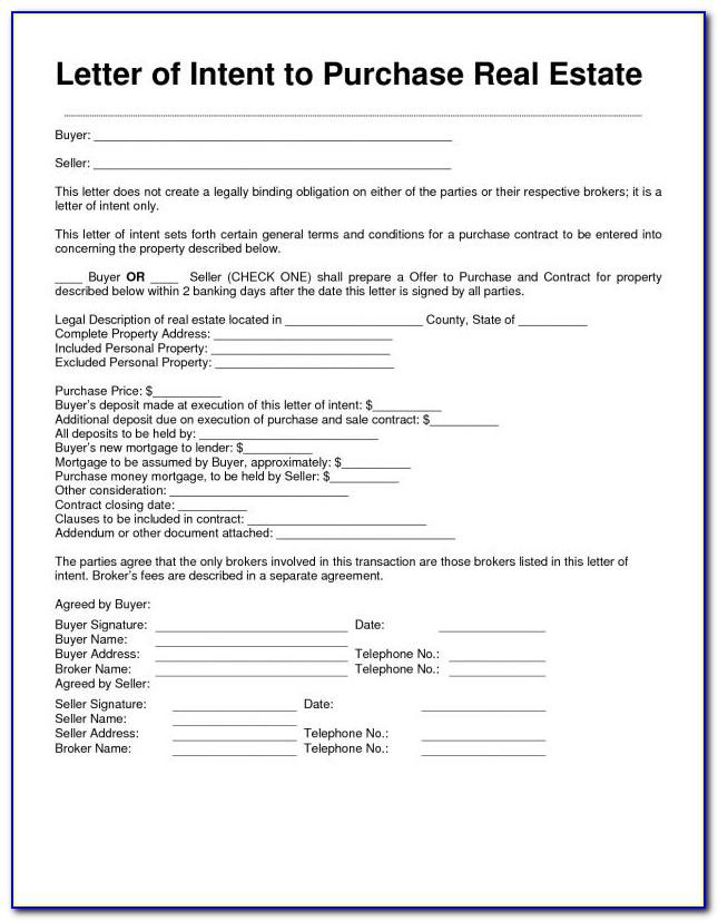 Letter Of Intent Commercial Real Estate Template