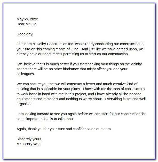 Letter Of Intent Construction Template Australia