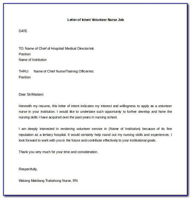 Letter Of Intent For Job Template Word