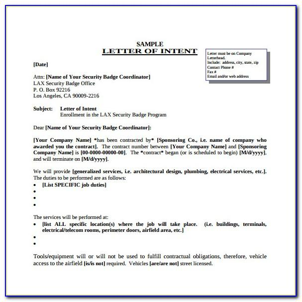 Letter Of Intent For Teaching Job Template