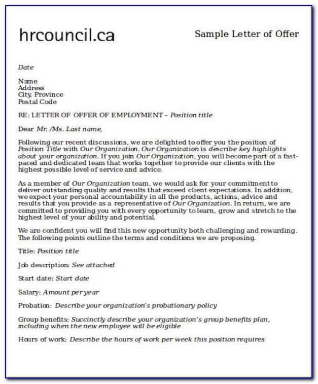 Letter Of Intent Job Samples