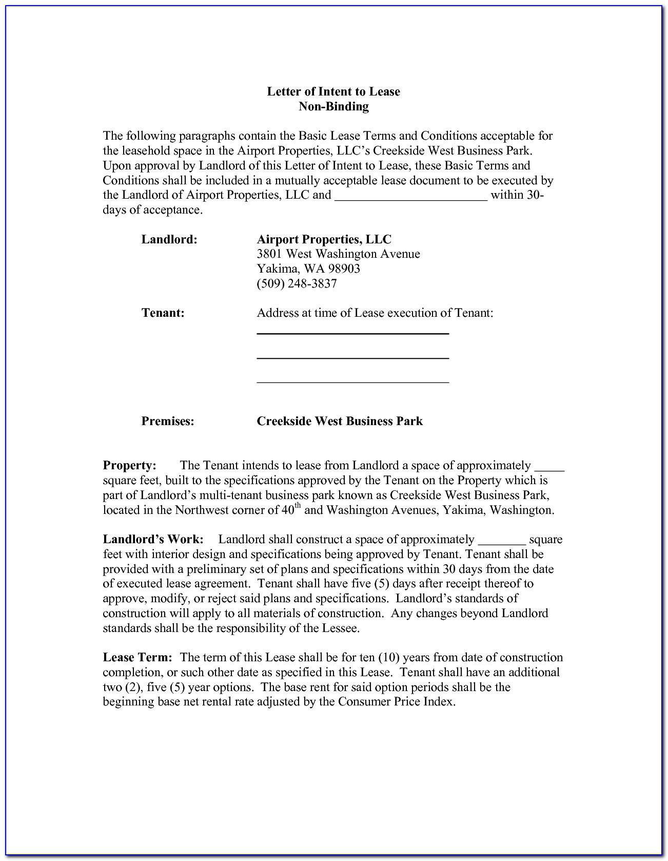 Letter Of Intent Sample For Business Lease