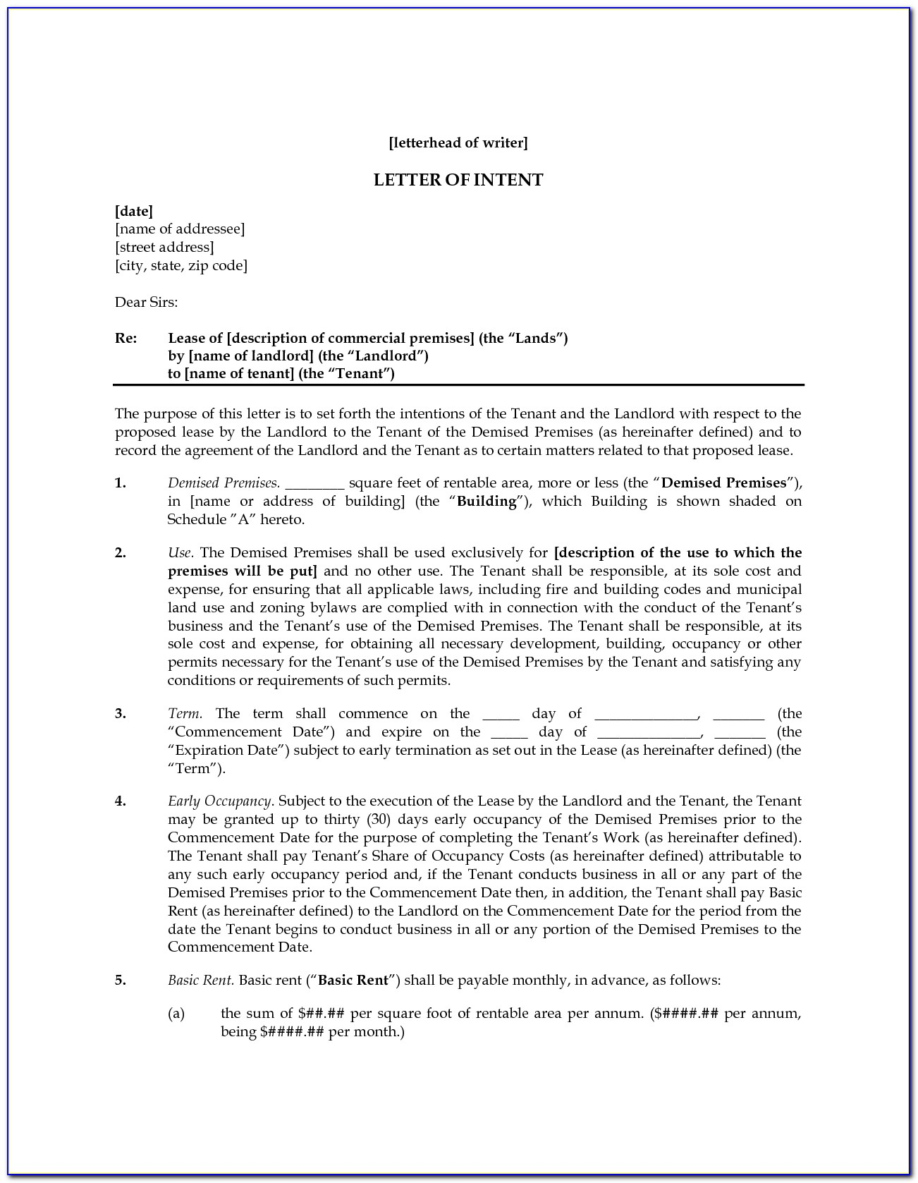 Letter Of Intent Sample For Lease Space