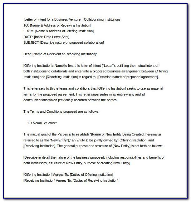 Letter Of Intent Sample Uk
