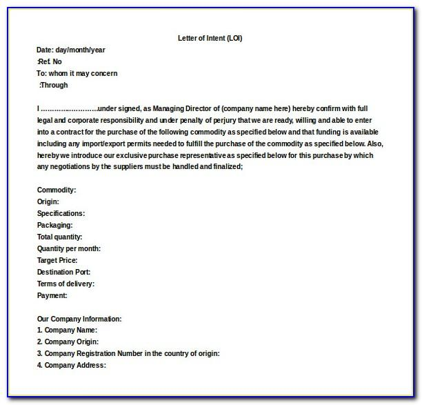 Letter Of Intent Template Construction Uk