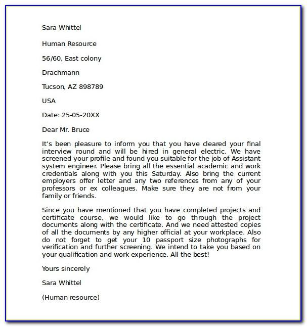 Letter Of Intent Template Job Application